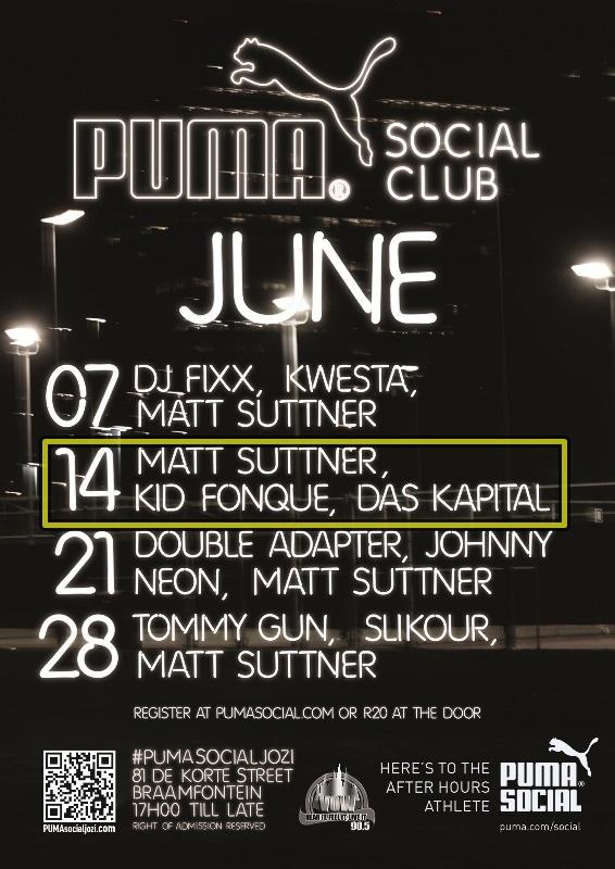 PUMA Social Jozi Line-Up for June 2013