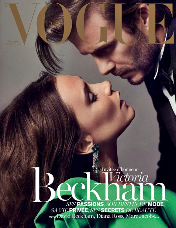 David and Victoria Beckham on the cover of Vogue Paris 2013